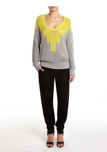 Hand-Knit Intarsia Deep U-Neck Pullover