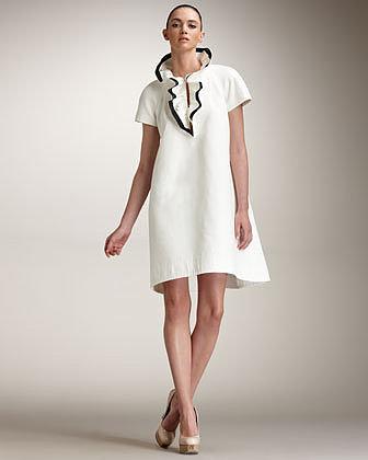 Fendi Contrast Ruffle Collar Dress