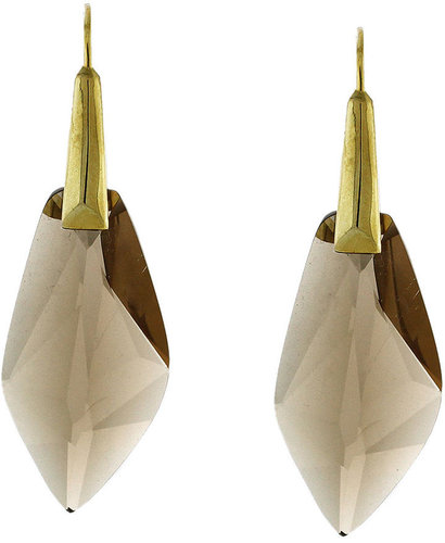 Vince Camuto Earrings, Brown Faceted Glass Drop Earrings