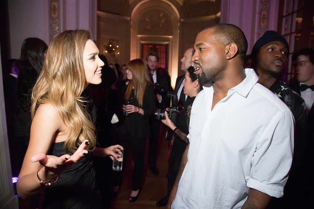 Jessica Alba and Kanye West chatted at the CR Fashion Book launch party in Paris on Tuesday night.