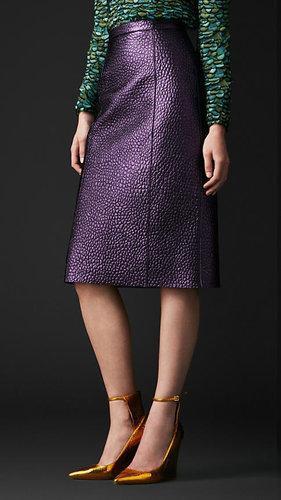 Metallic Leather Pencil Skirt