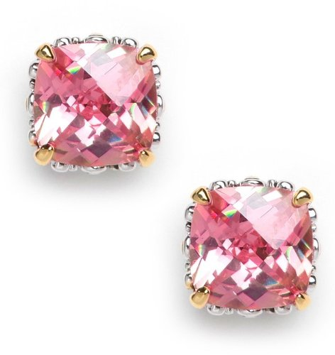 Pink Cushion Cut Studs