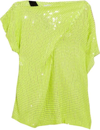 Diane von Furstenberg Mara asymmetric sequined silk top