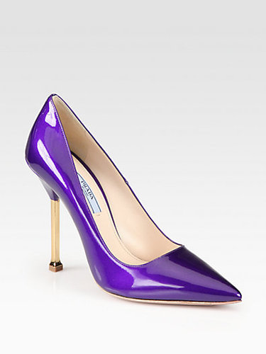 Prada Patent Leather Chrome Heel Pumps