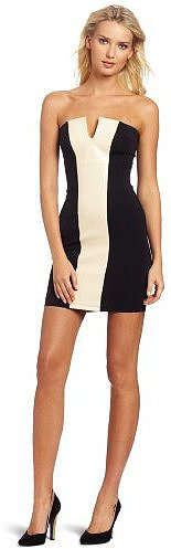 David Lerner Women's Strapless Leather Insert Dress
