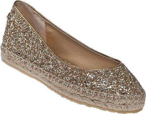 JIMMY CHOO Pow Flat Espadrille Gold Glitter