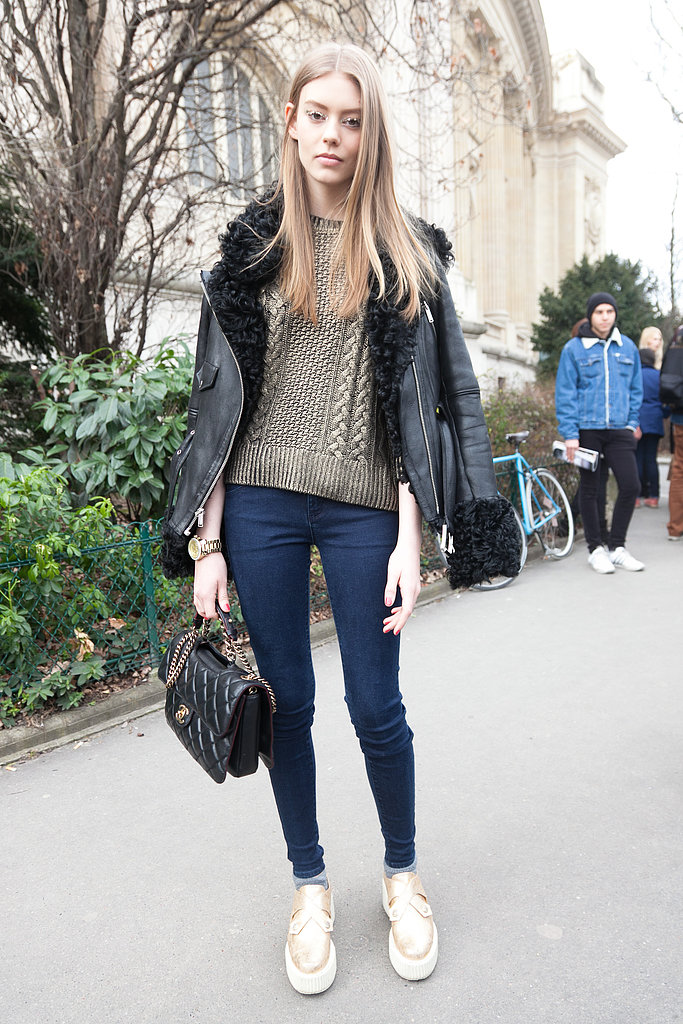 The metallic hues, shearling, and Chanel bag made this anything but your typical dressed-down denim look. Source: Le 21ème | Adam Katz Sinding