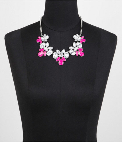 Short Five-Station Neon And Rhinestone Necklace