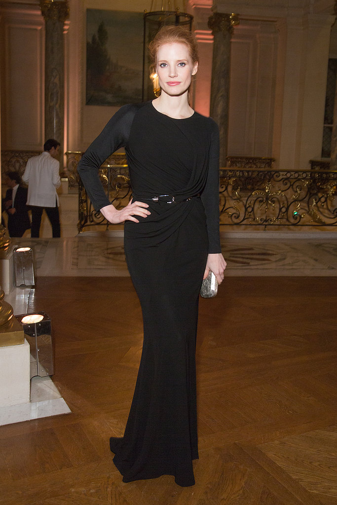 Just further proof of Jessica Chastain's fashion prowess at Paris Fashion Week — in a long-sleeved, draped black Givenchy gown.