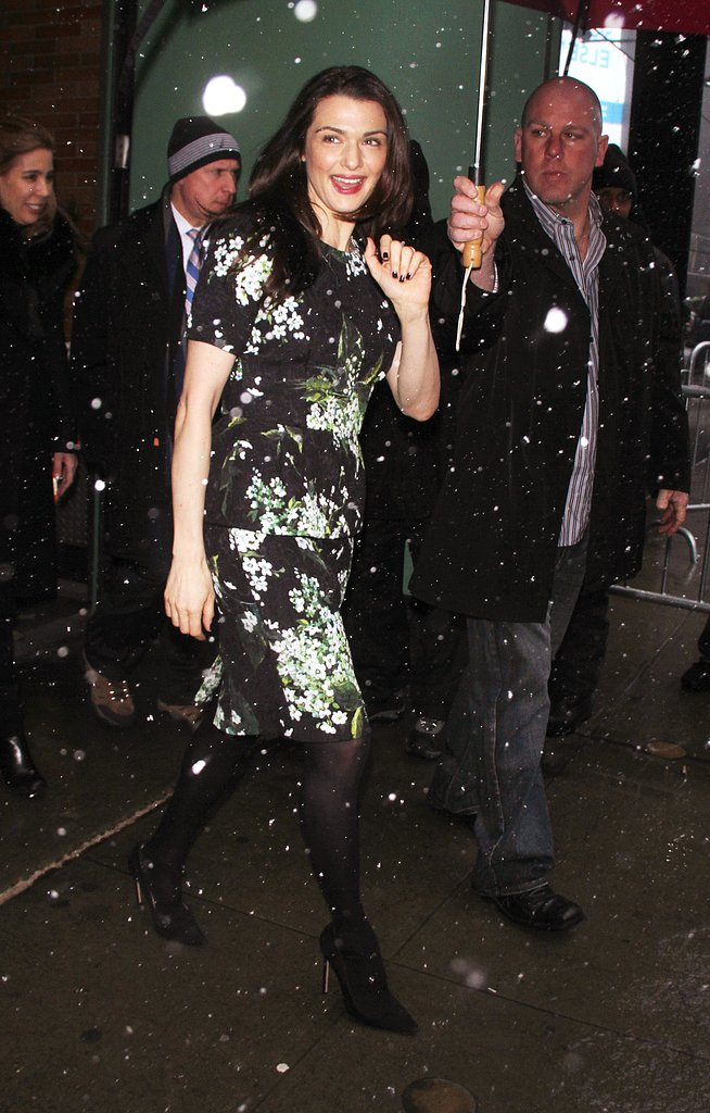 Rachel Weisz didn't let NYC's blizzard dictate her style, arriving at Good Morning America in a fresh floral-print sheath.