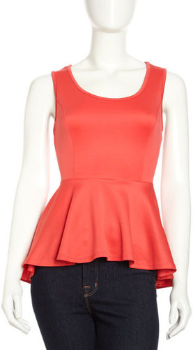 Romeo & Juliet Couture High-Low Peplum Blouse, Coral