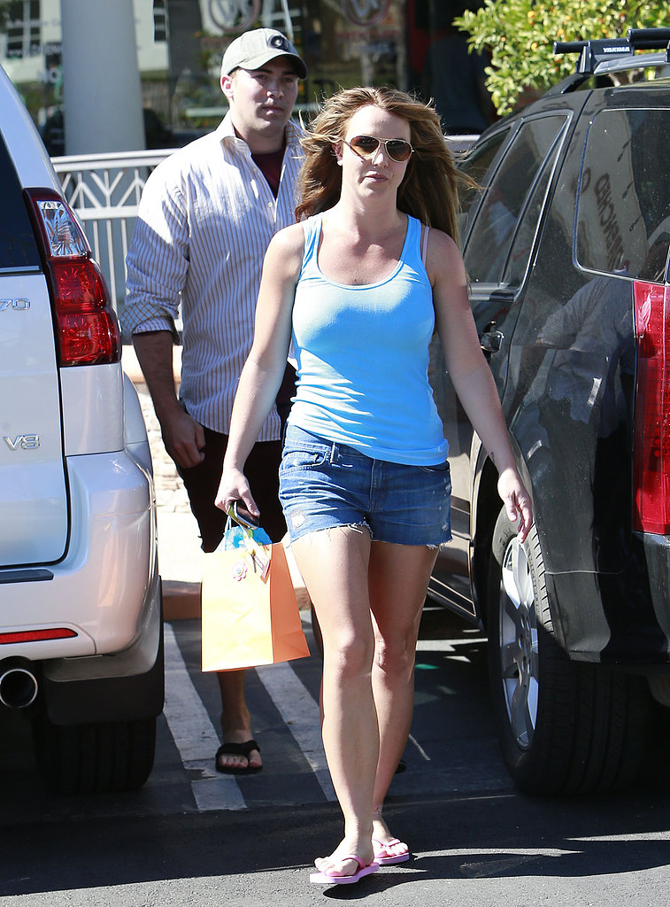 Britney Spears wore short shorts for an outing with her new boyfriend, David Lucado.