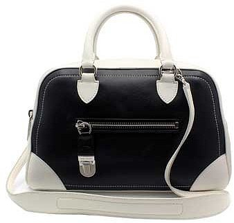 "Marc Jacobs ""C3131025"" Venetia Black & White Leather Shoulder Bag"