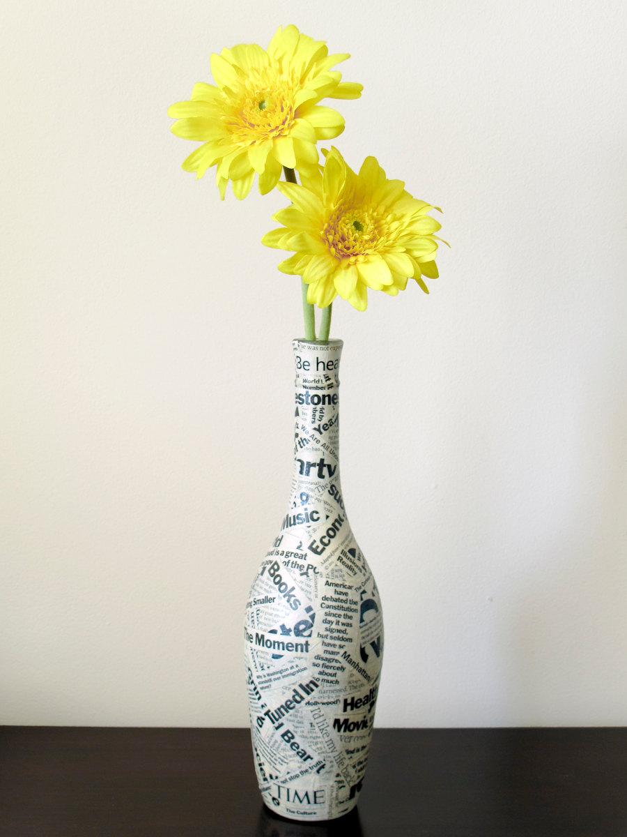 Как сделать вазу из бутылки фото