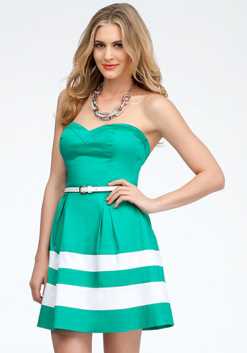 Strapless Colorblock Belted Dress - ONLINE EXCLUSIVE