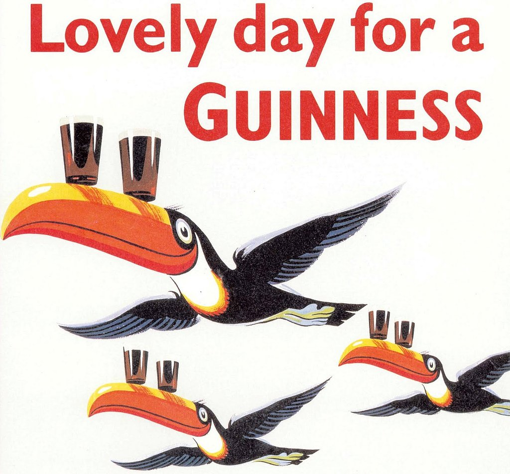 Hands down, the toucan is the most recognized of the Guinness symbols, thanks to ads like this one.