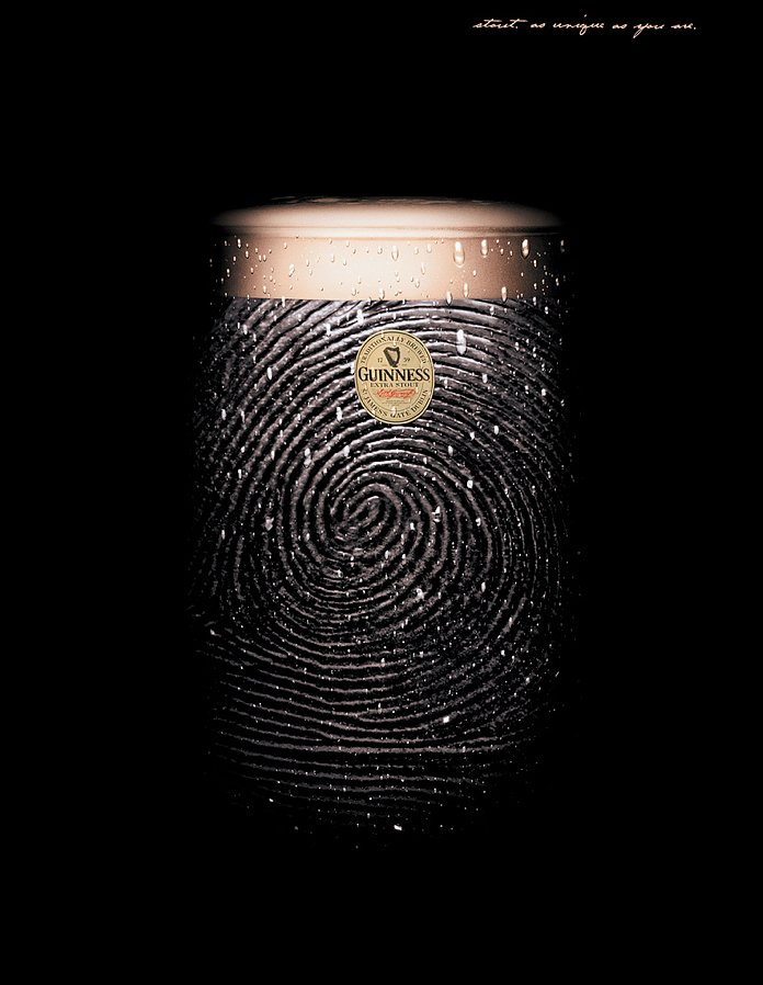 "This fingerprint ad reads: ""Stout as unique as you are."""