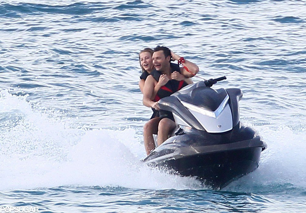 Julianne Hough and Ryan Seacrest let loose on a water ski in St. Barts in 2012.