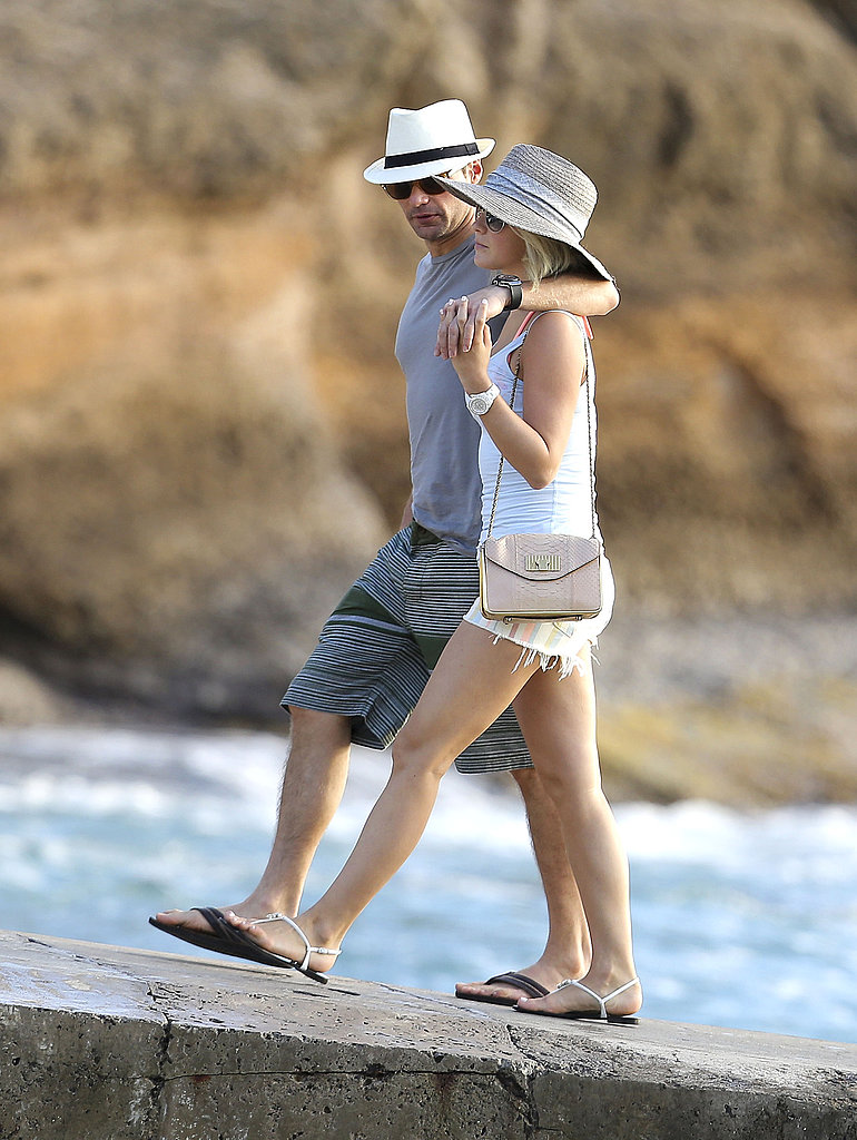 Ryan Seacrest had his arm around Julianne Hough for a walk in St. Barts in January.