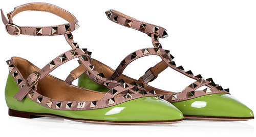 Valentino Apple Green/Powder Leather Rockstud Ankle Strap Flats