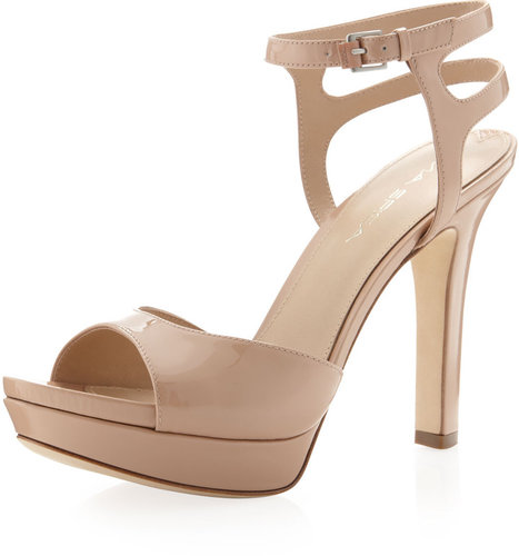 Via Spiga Brooke Patent Leather Platform Sandal, Nude