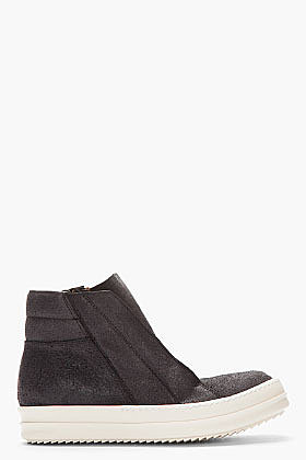 RICK OWENS Black brushed suede Island Dunk shoes