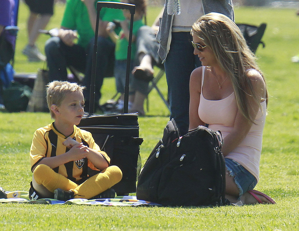 Britney Spears chatted with her son during the game.
