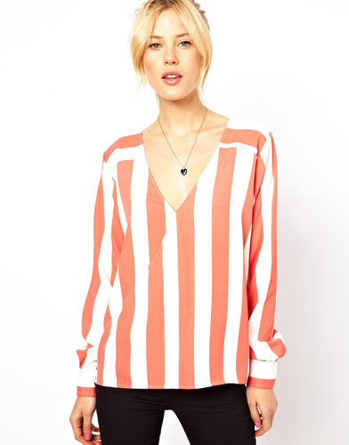 ASOS Blouse With Wrap Front And Stripe