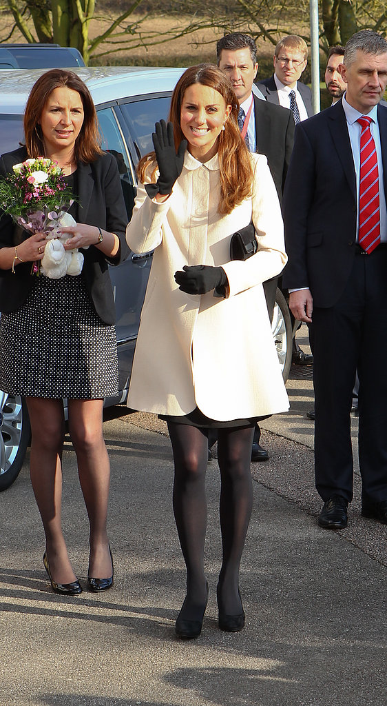 Kate Middleton gave a wave on her way to the offices of Child Bereavement UK in Saunderton, Buckinghamshire.