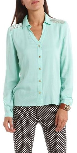 Lace Inset Button-Down Blouse