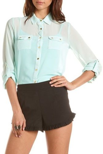 Roll-Cuff Chiffon Button-Down Blouse