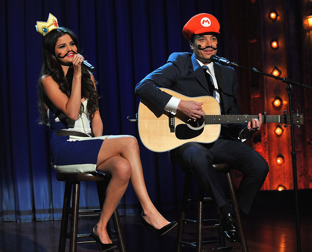 Selena Gomez sported a moustache to sing a Mario Kart love song with Jimmy Fallon on Late Night With Jimmy Fallon.