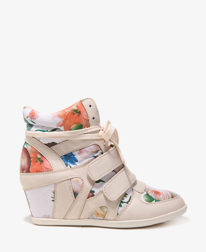 FOREVER 21 Floral Wedge Sneakers