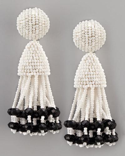 Oscar de la Renta Beaded Short Tassel Earrings, White/Black