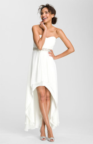 Xscape Embellished Waist Chiffon Gown (Online Exclusive)