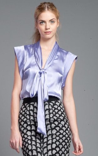 Tracy Reese Pale Lilac Tie-Neck Shirt