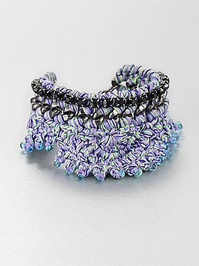 Venessa Arizaga Chiquita Chain and Woven Cord Bracelet