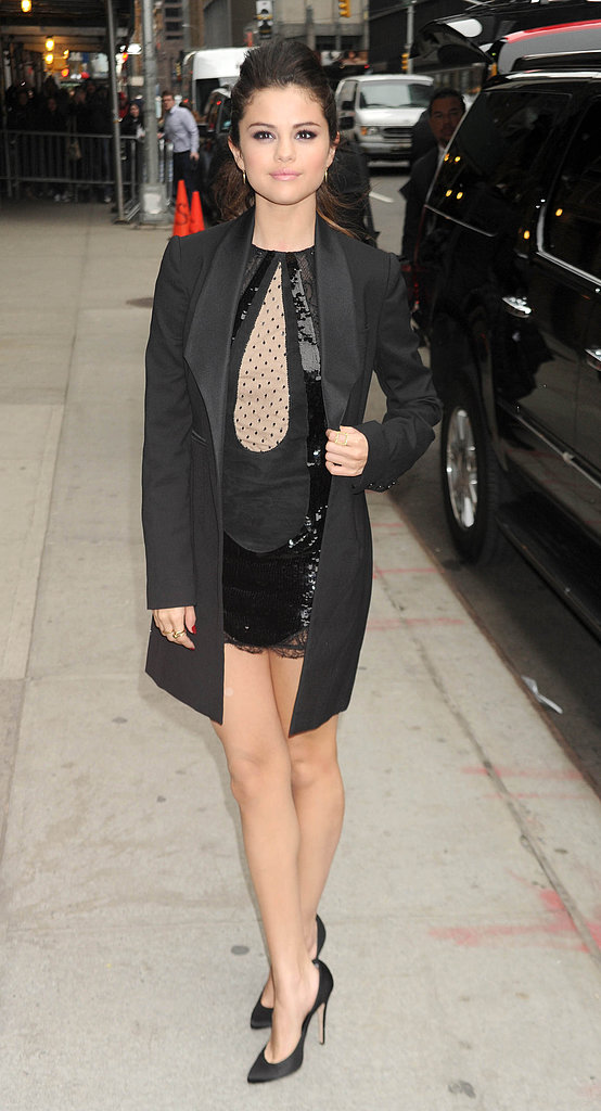 Selena Gomez flashed a little leg in Emilio Pucci on her way into the Late Show With David Letterman.