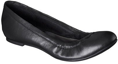 Women's Merona® Genuine Leather Scrunch Flat - Black