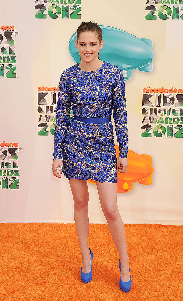Kristen Stewart showed off her legs in a blue mini dress in 2012.