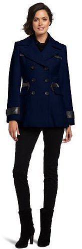 Via Spiga Women's Pea Coat with Faux Leather Trim