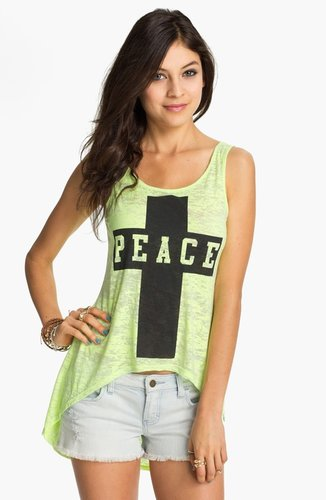Project Social T Peace Cross Graphic High/Low Tank (Juniors)