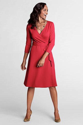 Women's Regular 3/4-sleeve Knit Faux Wrap Drapey Ponté Dress
