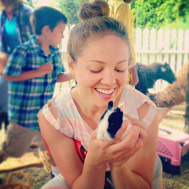 Erika Christensen held on to a tiny bunny on Easter Sunday.  Source: Instagram user erikachristensen