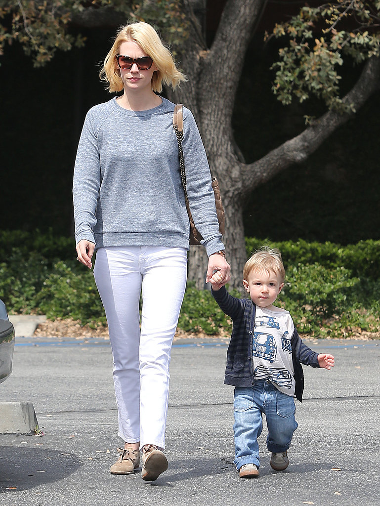 January Jones made her way to the car with her son, Xander, after lunch in LA.