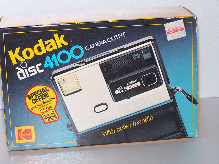 The Kodak disc 4100 Camera heralds from 1984-87 and is a boxy opposite to modern SLRs.  Source: Etsy user KindDragonFly
