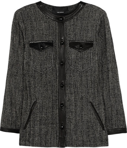 Isabel Marant Kailey leather-trimmed tweed jacket