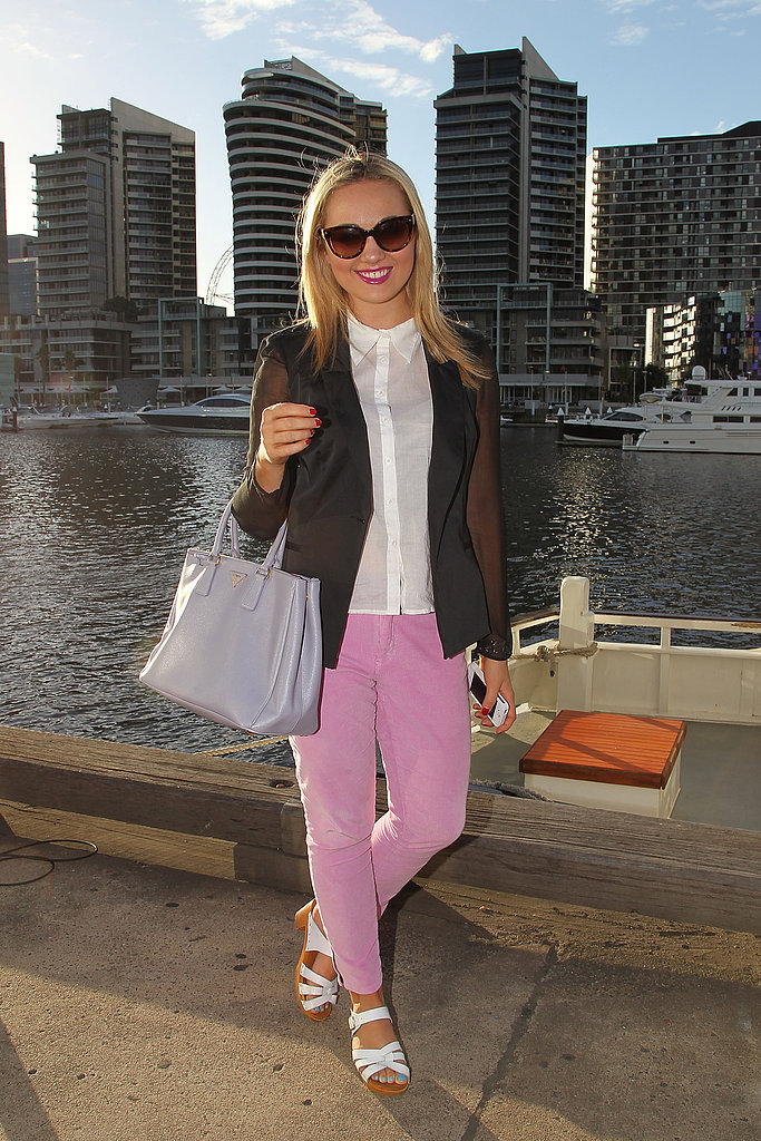 Pastel pants pop against an otherwise monochrome palette.