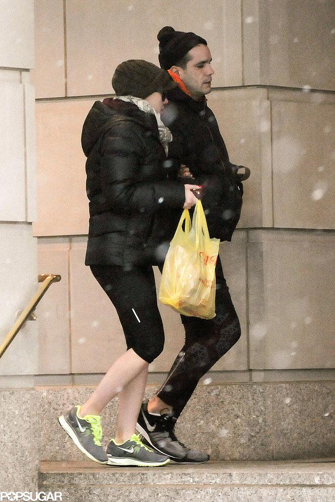 Scarlett Johansson linked arms with Romain Dauriac in NYC.
