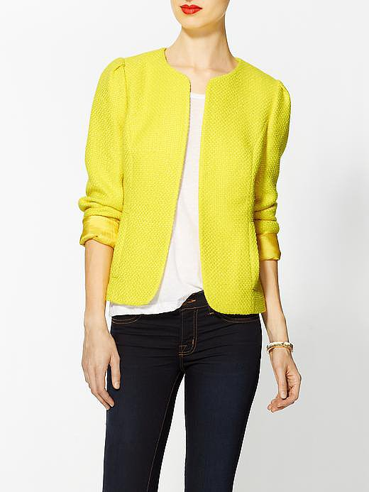 This Larkin yellow tweed blazer ($69) stands out thanks to its mock collar. Throw it on over just about anything for a pop of sophistication and pizzazz.